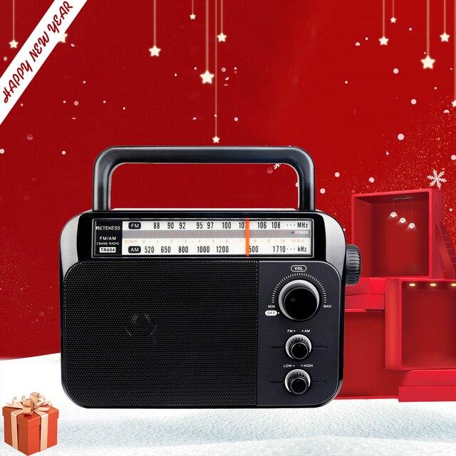 Retekess TR604 FM/AM 2 להקת נייד רדיו AC מופעל נטענת מקלט עם 3.5mm אוזניות שקע קשישים