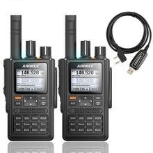 2pcs ABBREE AR F8 GPS Walkie Talkie de alta potência 136 520MHz CTCSS Freqüência de Detecção de DNS grande display led 10km de longo alcance