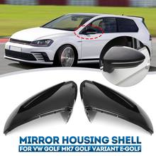For VW Golf MK7 7.5 GTD GTI 7 7R Mirror Covers Caps Rear View Mirror Case Cover Bright Black Housing Shell Cover