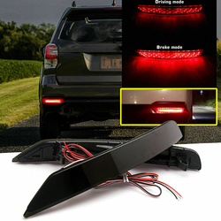 Fit For Subaru Forester 2008-2017 One Pair High Quality Car Rear Bumper Brake Lights Black & Red Lens Driving LED Tail Stop Lamp