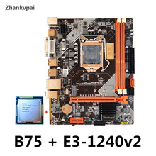 Zhankvpai B75 LGA1155 Motherboard set with Intel Xeon E3-1240V2 CPU 3.4G Quad-Core Desktop Memory SATA III USB 3.0 M.2 NVME