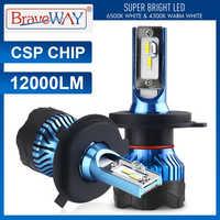 BraveWay Led Headlight for Auto Super LED Bulb for Car Light Bulb H1 H4 H7 H11 9005 9006 Led HB3 BH4 12000LM 12V Diode Lamps