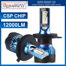 Braveway Led Koplamp Voor Auto Super Led Lamp Voor Auto Gloeilamp H1 H4 H7 H11 9005 9006 Led HB3 BH4 12000LM 12V Diode Lampen(China)