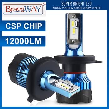 BraveWay Led Headlight for Auto Super LED Bulb for Car Light Bulb H1 H4 H7 H11 9005 9006 Led HB3 BH4 12000LM  12V Diode Lamps led car headlight bulb h4 h7 led h11 h1 h27 9005 9007 12v 50w 12000lm led auto lamp for skoda octavia citigo rapid fabia superb