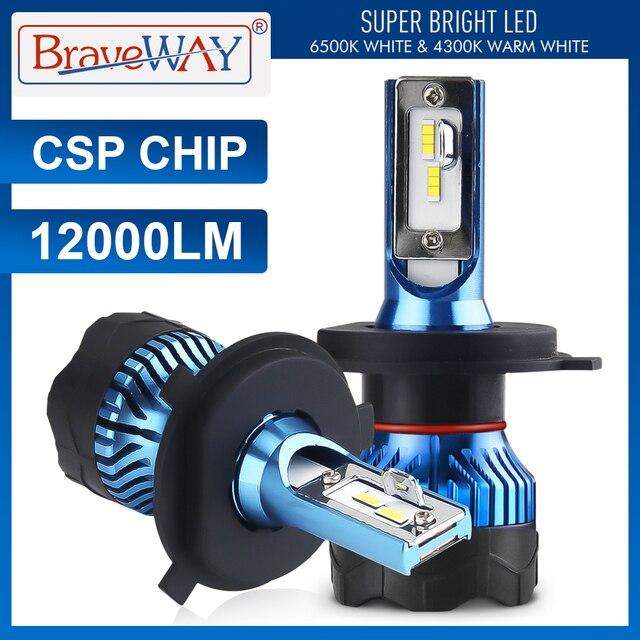 $ US $16.42 BraveWay Led Headlight for Auto Super LED Bulb for Car Light Bulb H1 H4 H7 H11 9005 9006 Led HB3 BH4 12000LM  12V Diode Lamps