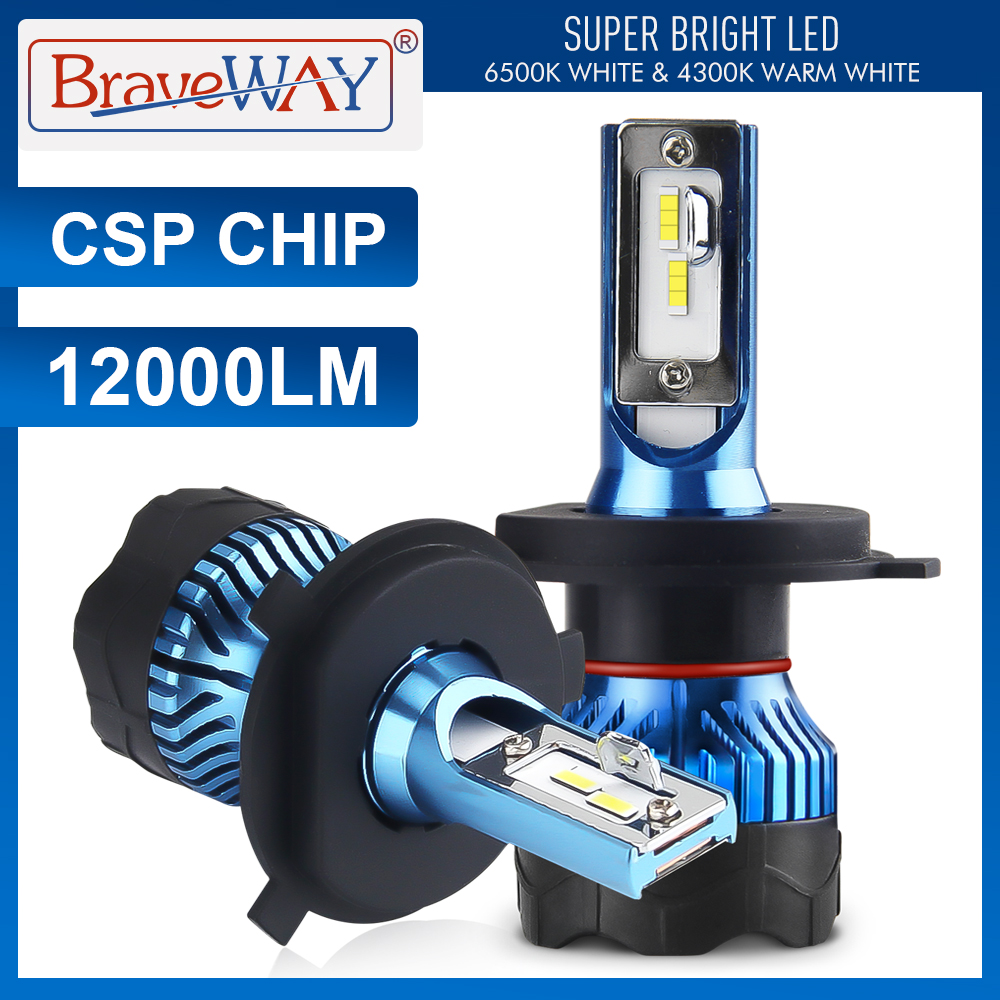 Braveway Led Koplamp Voor Auto Super Led Lamp Voor Auto Gloeilamp H1 H4 H7 H11 9005 9006 Led HB3 BH4 12000LM 12V Diode Lampen