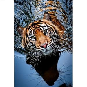 Broca quadrado completo 5d diy pintura diamante ponto cruz água tigre 3d diamante bordado animal mosaico strass imagem m955