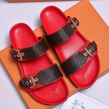 With Box Women Print Patent Leather Brand Bom Dia Mule On-trend Slide Sandal Lady Canvas Letter Anatomic Leather Outsole Designe