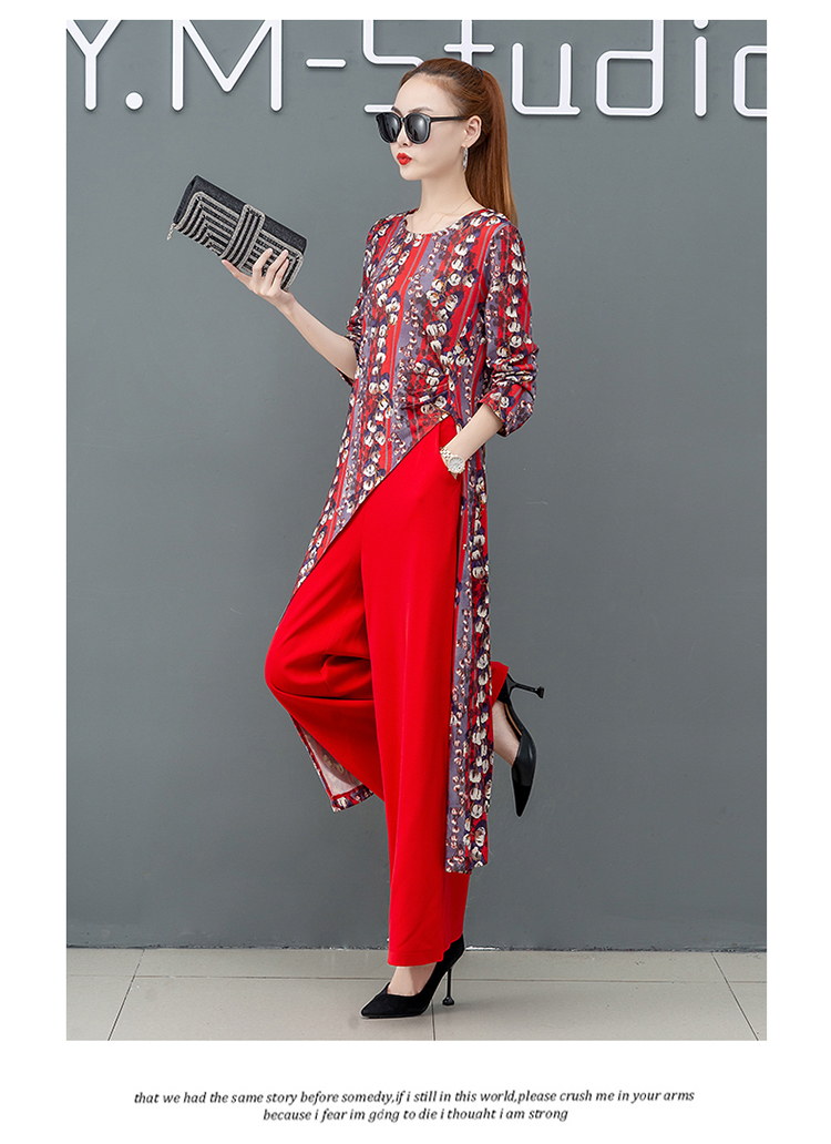 Printed Two Piece Sets Outfits Women Plus Size Splicing Long Tops And Wide Leg Pants Suits Elegant Office Fashion Korean Sets 49