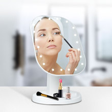 Makeup Mirror 20-LED Touch Screen Switch Desktop Makeup Tool 180° Adjustable USB/Battery Mirror Home Portable Travel
