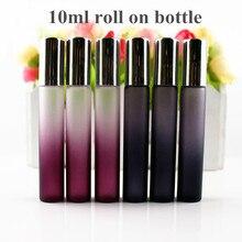 50 pçs/lote 10ml rolo na garrafa de vidro preto/roxo de vidro fino rolo em frascos 10cc óleo essencial rolo perfumes amostra garrafa