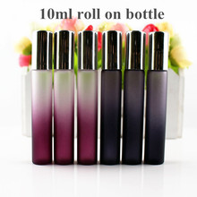 50pcs/lot 10ml Roll On Glass Bottle Black / Purple Thin Glass Roll On Vials 10cc Essential Oil Roller Perfumes Sample Bottle
