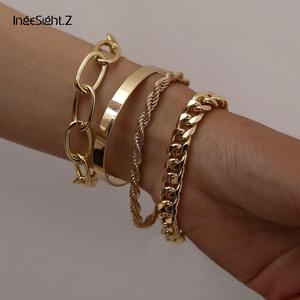 IngeSight.Z 4Pcs/Set Hip Hop Chunky Thick Miami Curb Cuban Bracelets Bangles Punk Metal Twisted Rope Chain Bracelet Jewelry Gift