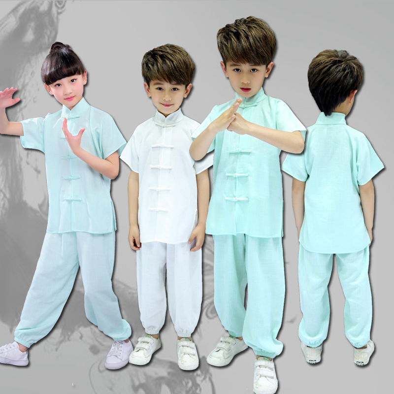 Children Martial Arts Wear 2018 Spring And Summer New Style CHILDREN'S Baby Tai Chi Exercise Clothing Groups Martial Arts CHILDR