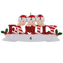 Sparkle Family of 3 polyresin glossy personalized christmas tree ornaments for home decorations