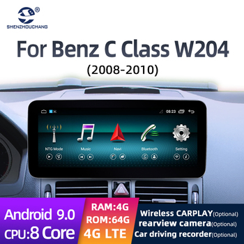 10.25 Inch Android 9.0 System HD 1080P 8core 4+64G Car Radio GPS Multimedia player with carplay for Benz C -Class W204 2008-2010 image