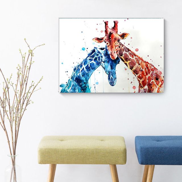 Pop Graffiti Art Canvas Paintings Thinking Monkey Giraffe Animals Wall Art Posters Print Pictures for Living Room Home Decor