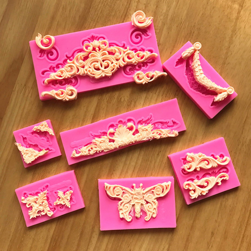 Hot Sale DIY Craft Vintage Relief Border Lace Silicone Mold Clay 3D Paste Mold Sculpture Pottery Ceramics Tools