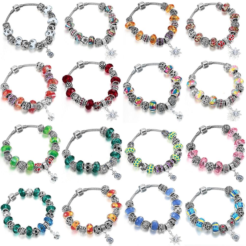 Todorova 31 Styles Murano Glass Beads Charm Bracelets for Women Girl with Snake Chain Brand Bracelets & Bangles Jewelry Handmade