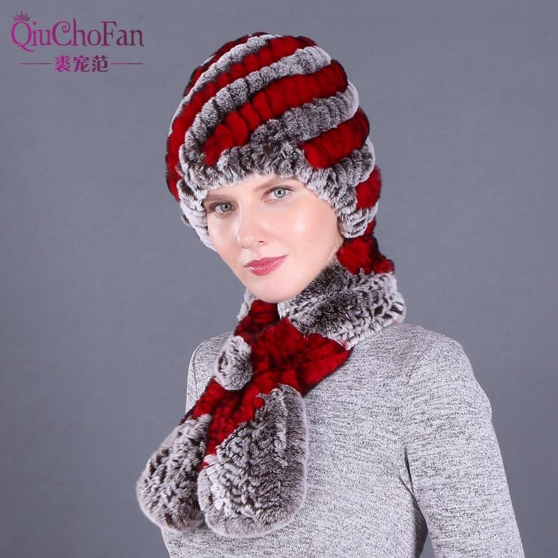 Winter Women Real Rex Rabbit Fur Hat And Scarf 2 Piece Set Handmade Knit Genuine Rabbit Fur Caps Brand Fashion Fullness Warm