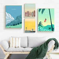 Moderno paisaje de viaje de la ciudad, póster de lienzo de Bali Berlin, impresiones, pintura de Arte de la pared Decoración para el hogar sin marco