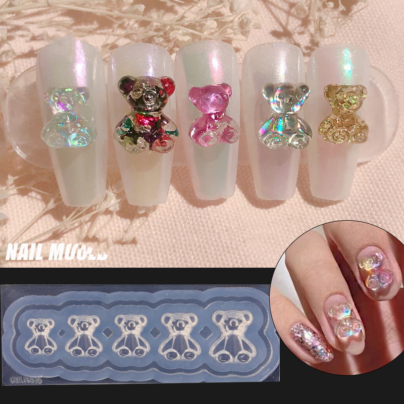1pcs Silicone Nail Carving Mold 3D Bear Butterfly Mould Stamping Plate Nails Stencils  DIY UV Gel Japanese Style Manicure Tools