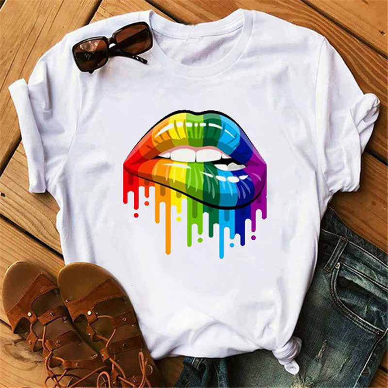 Streetwear Female T-shirt Lip Print Harajuku T-shirts For Women Summer Hip Hop Cotton T Shirt