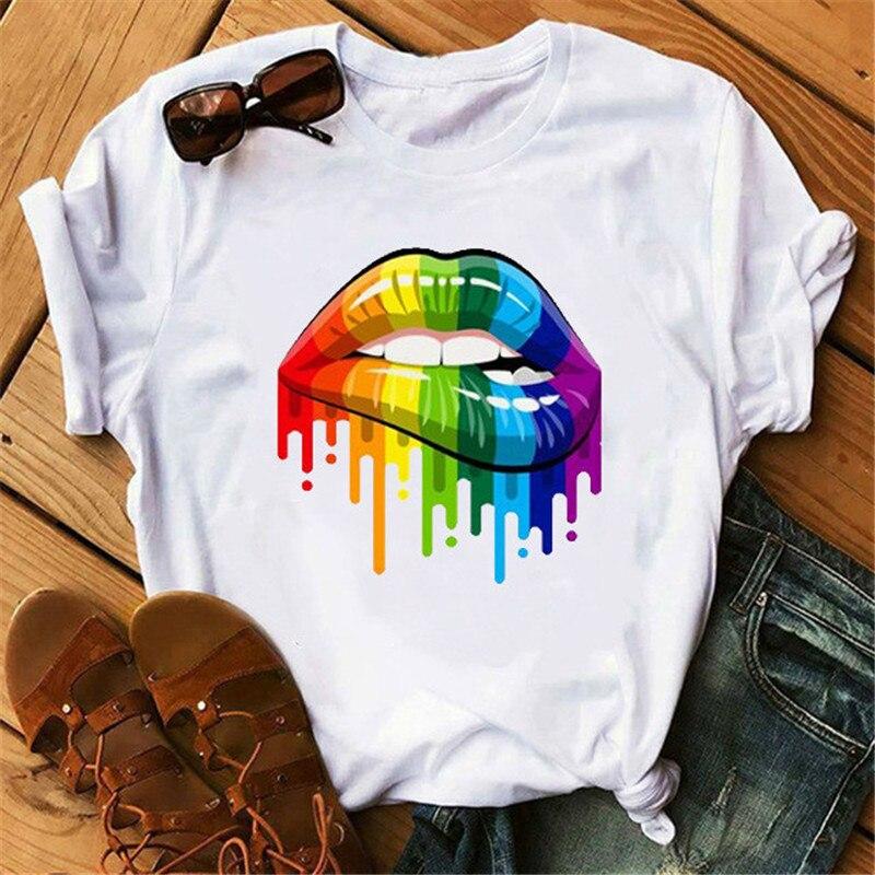 Streetwear Female T-shirt Lip Print Harajuku T-shirts For Women Summer Hip Hop Cotton T Shirt