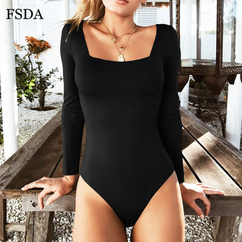 FSDA Long Sleeve Knitted Skinny Bodysuit Women 2