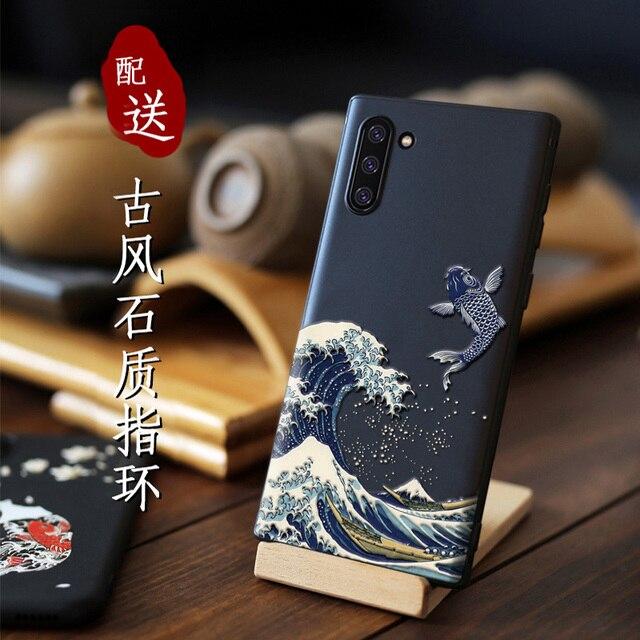 Große Relief Telefon fall Für Samsung galaxy Note 10 Plus note10 + abdeckung Kanagawa Wellen Karpfen Krane 3D Riesen relief fall hinweis 9 10