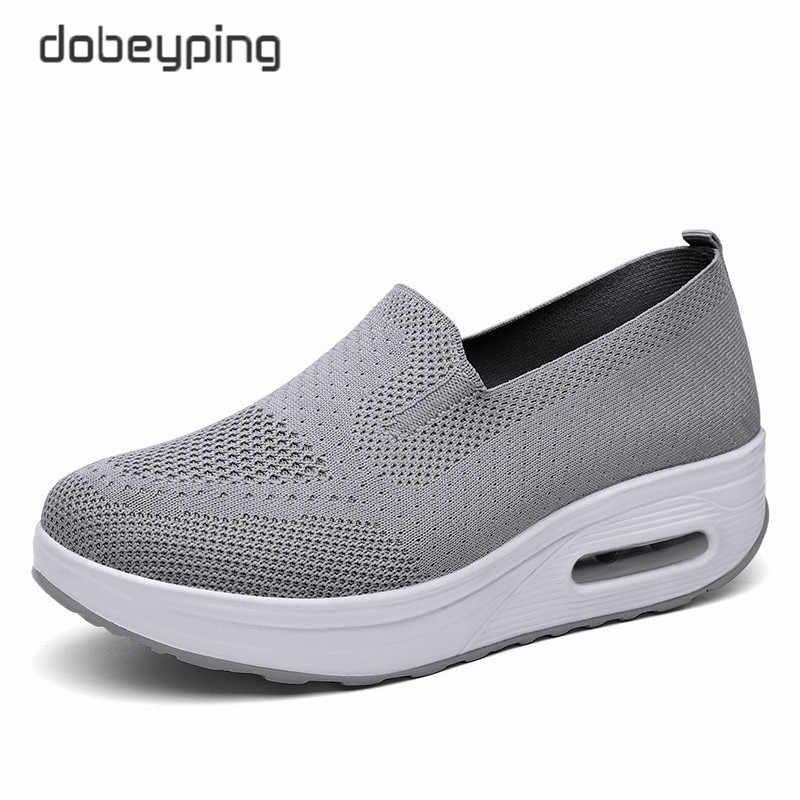 Ilkbahar sonbahar kadın salıncak ayakkabı örgü kadın loafer'lar düz platformlar kadın ayakkabı takozlar bayanlar ayakkabı yüksekliği artan ayakkabı