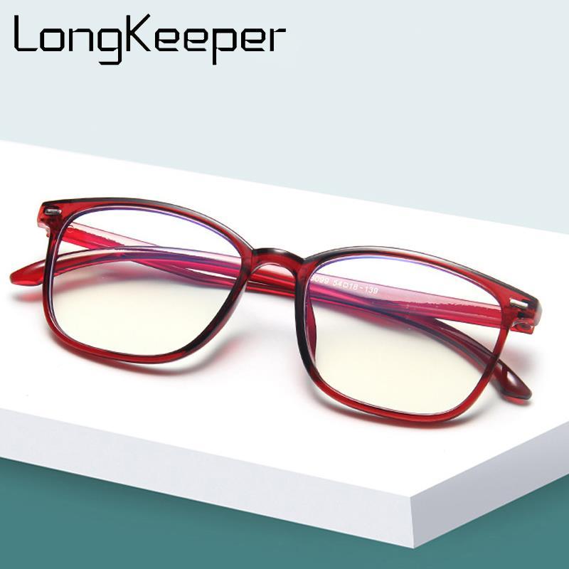 Longkeeper quadrado transparente óculos de computador dos homens das mulheres ultraleve rebite óculos quadro retro lente clara oculos