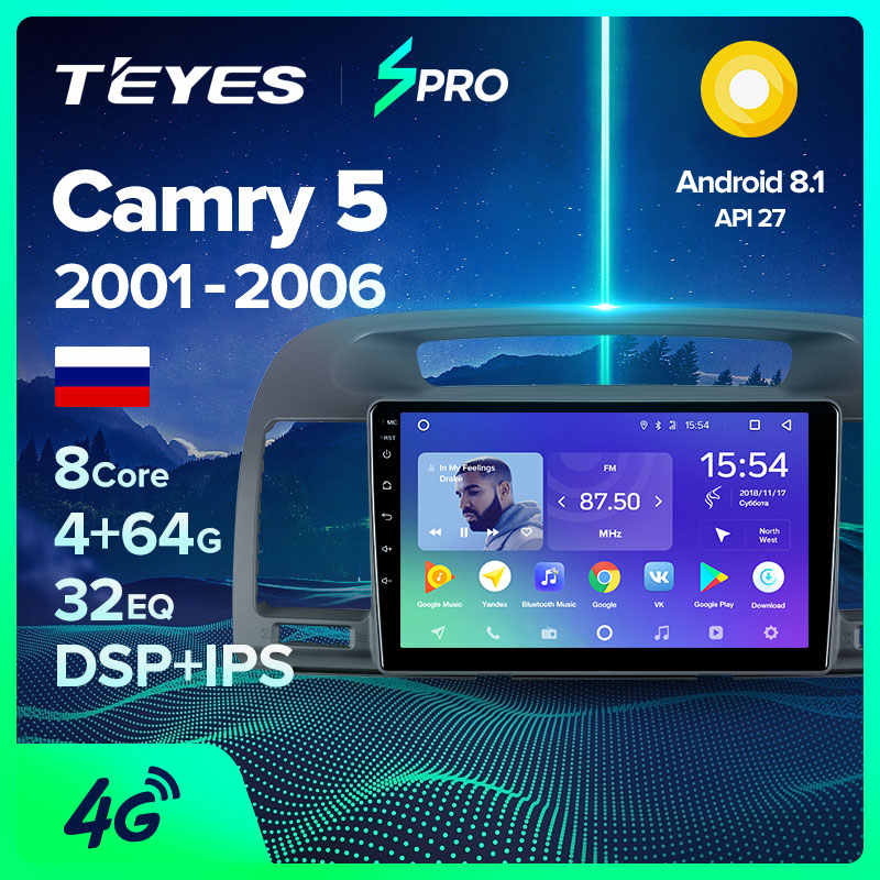 Teyes Spro Voor Toyota Camry 5 Xv 30 2001 - 2006 Auto Radio Multimedia Video Player Navigatie Gps Android 8.1 geen 2din 2 Din Dvd