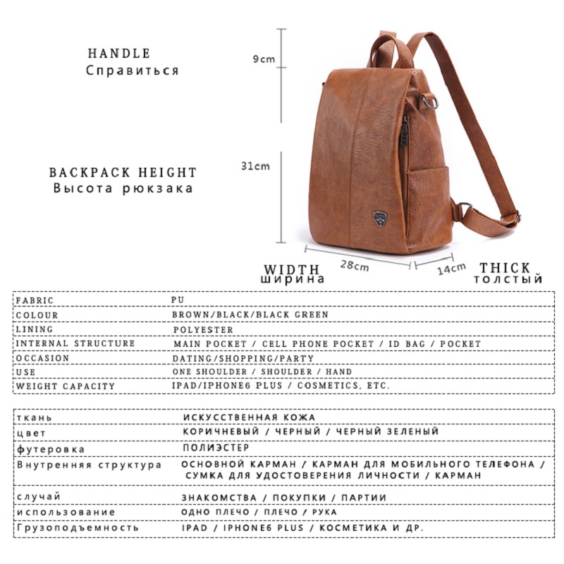 Fashion Backpack Female Designer New Women PU Leather Backpack Anti Theft High Quality Soft Back Pack Backpacks School Bags in Backpacks from Luggage Bags