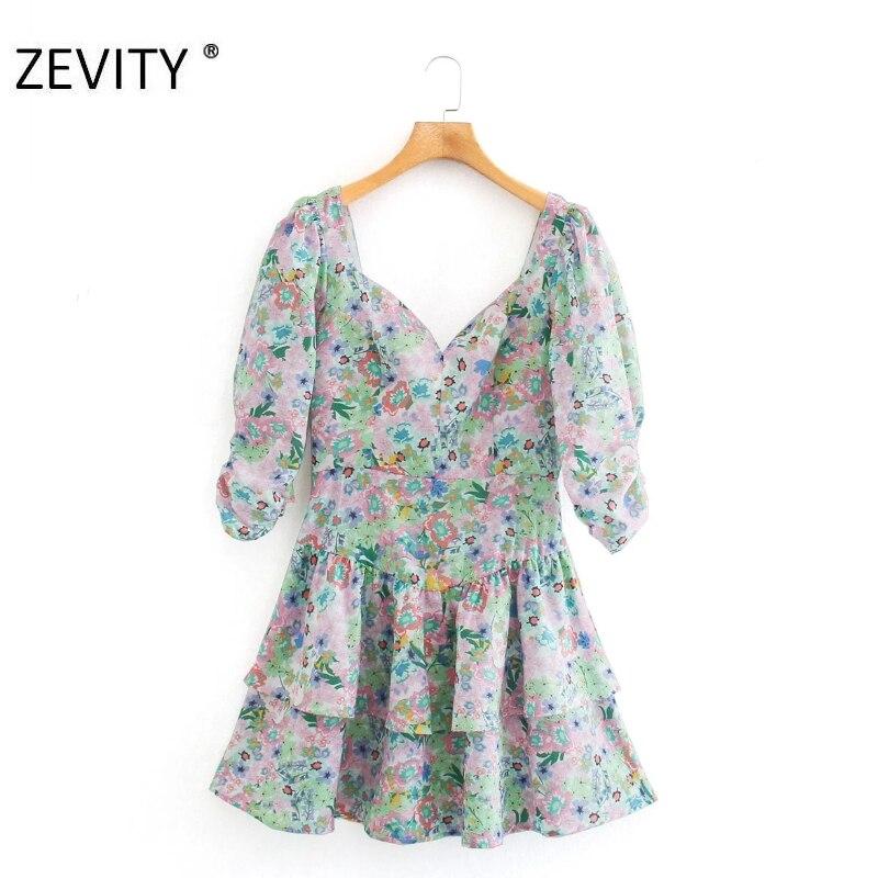 ZEVITY New Women elegant pleated lantern sleeve flower print ruffles mini dress female sexy backless vestido chic Dresses DS4295