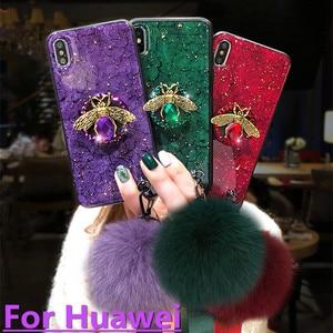 For Huawei P30 P20 Lite Mate 30 20 Pro Case Diamond Bracket With Bee Cases On Honor 20 10 10i 9 8X 9X Pro V20 Nova 4 3i 5i Cover(China)