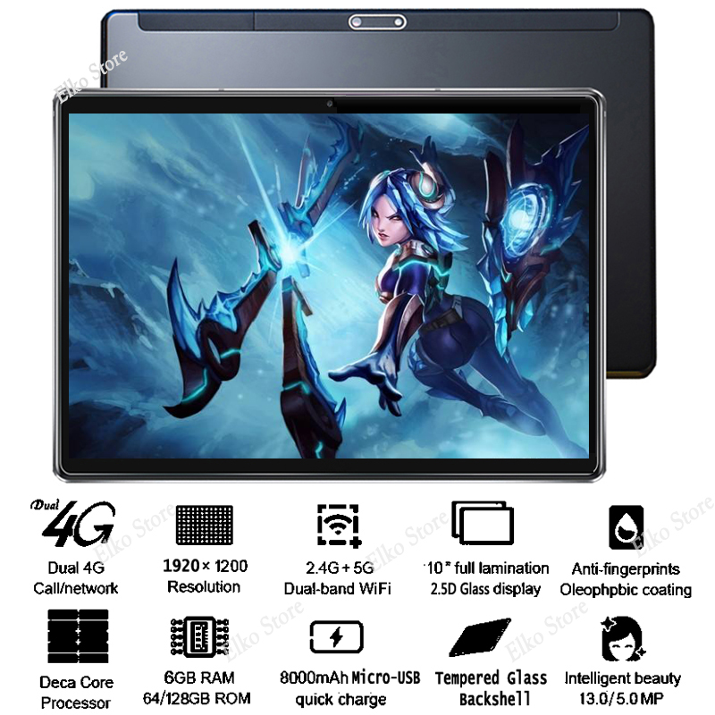 DHL Free 10 inch 2.5D Glass Tablet PC Android 8.1 Deca Core 4G LTE 6GB RAM 128GB ROM 1920*1200 IPS A GPS Tablet 10 10.1+Gifts-in Tablets from Computer & Office