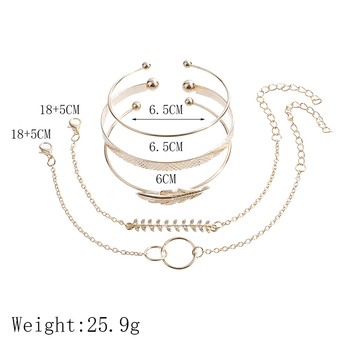 5Pcs/set Bohemian Gold color Moon Leaf Crystal Opal Open Bracelet Set for Women Punk Boho Beach Bangle Jewelry Gift 5