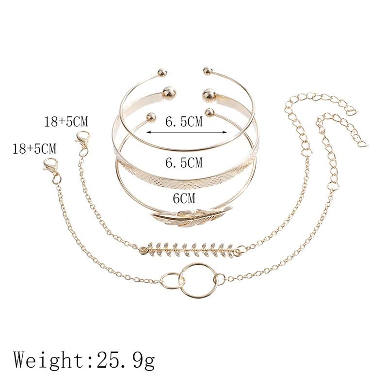 Modyle 5Pcs/set Bohemian Gold color Moon Leaf Crystal Opal Open Bracelet Set for Women Punk Boho Beach Bangle Jewelry Gift 4