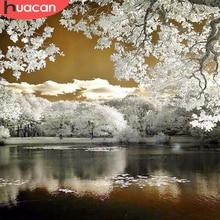 HUACAN – peinture de diamant 5D à mosaïque de paysage, bricolage, perceuse complète d'hiver, carré, image de strass, broderie de paysage