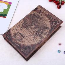 Retro Vintage grande mapa del mundo seguridad libro de madera efectivo dinero joyas organizador caja de almacenamiento de madera de estilo europeo