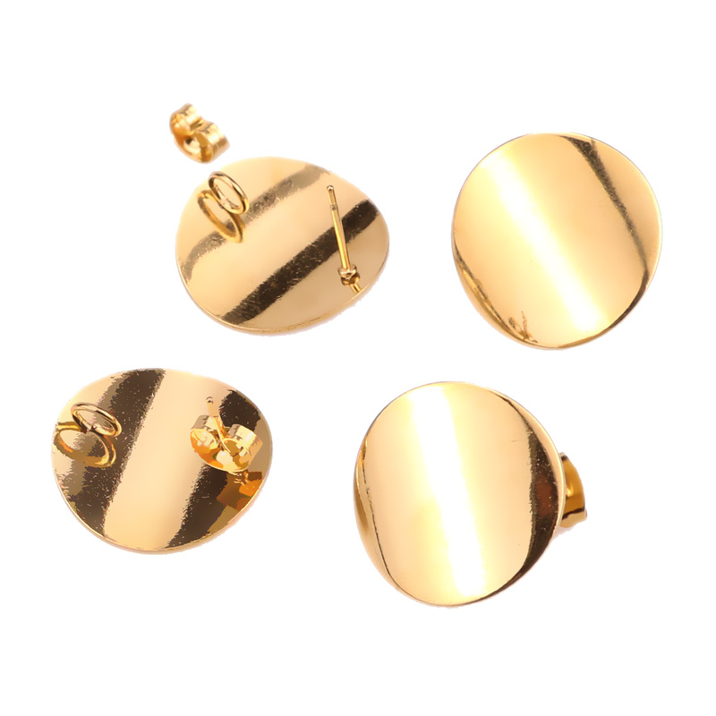 10pcs/lot 20mm Stainless Steel Gold Stud Earrings Post With Loop Bent Round Ear Components For DIY Earring Making  Findings