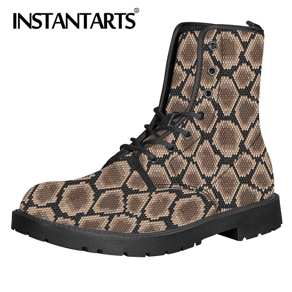 INSTANTARTS décontracté femmes Hiver Botas Femme en cuir neige bottines chaud Cool peau de serpent imprimer dames Botas Femme Hiver 2019