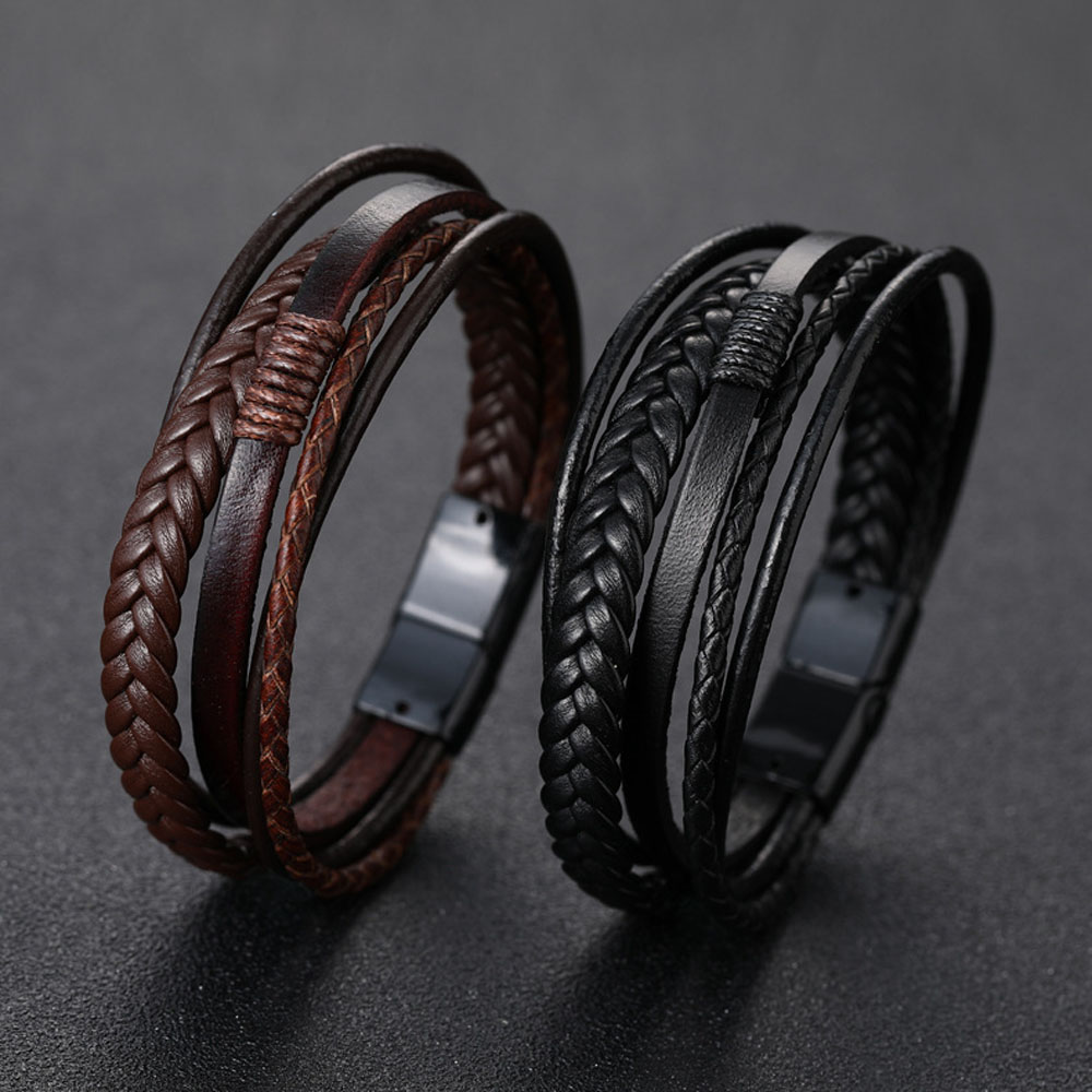 Men's Braided Leather Bracelets Armband Heren In Black And Brown Color With Magnetic Elegant Bracelet For Man