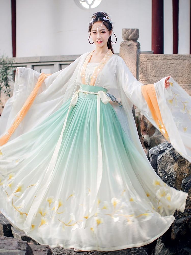Embroidered Hanfu Women Chinese Traditional Costume Classic Stage Dance Movie Tv Drama Summer Hanfu Set Fairy Skirt Ginkgo Style Aliexpress