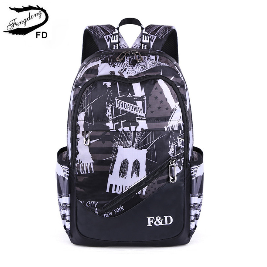 FengDong Student Schoole Bags Teenage Boy Big School Backpack School Book Bag Anti-theft Travel Laptop Bag With Luggage Belt