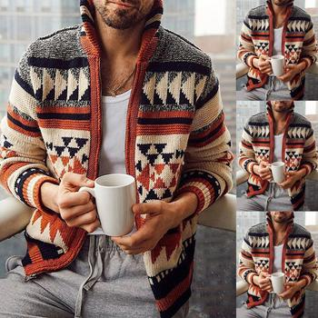 Autumn Winter Men Long Sleeve Cardigan Jacquard Weave Sweater Outerwear Zip Coat knitwear loose-fitting jacket Oversize M-4XL image