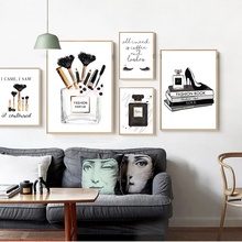 Современный модный настенный плакат черно-белый парфюм ресницы макияж Картина на холсте винтажная модная картина для декора гостиной