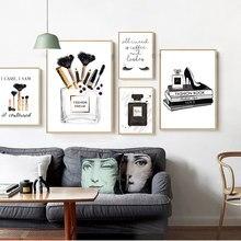 Moda moderna arte da parede cartaz preto branco perfume cílios maquiagem lona pintura do vintage vogue imagem para sala de estar decoração