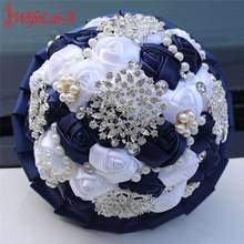 New Customizable Rhinestones Holding Flowers Bride Wedding Bouquet Dark Blue White Ribbon Rose Artificial W3217B